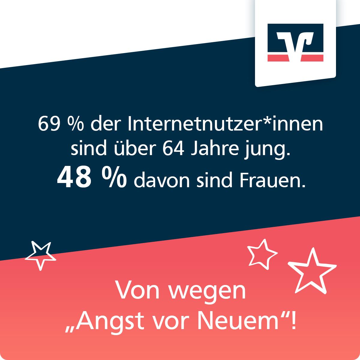 """Zukunftsplanerin-Kachel """"Silver Surfer"""":69% der Internetnutzer*innen sind über 64 Jahre jung. 48% davon sind Frauen. Von wegen """"Angst vor Neuem""""!"""